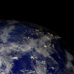 Earth From Space At Night. Asia.